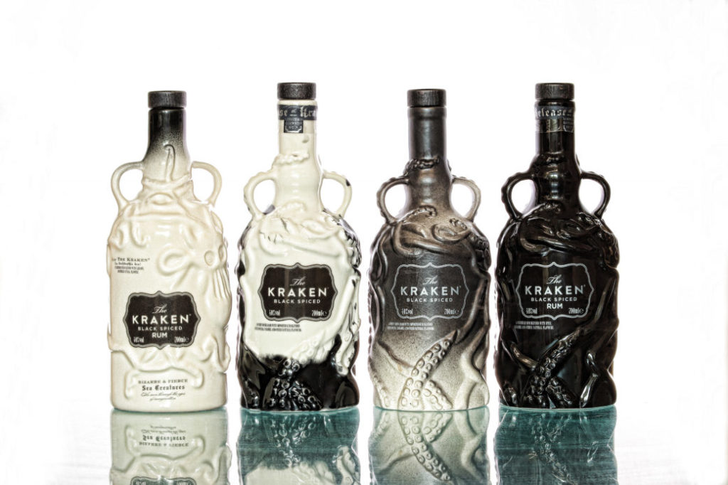 Comparison: The four Kraken ceramic bottle limited editions