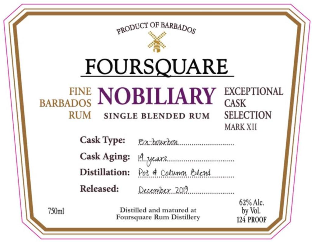New Foursquare rum Nobiliary coming in 2020